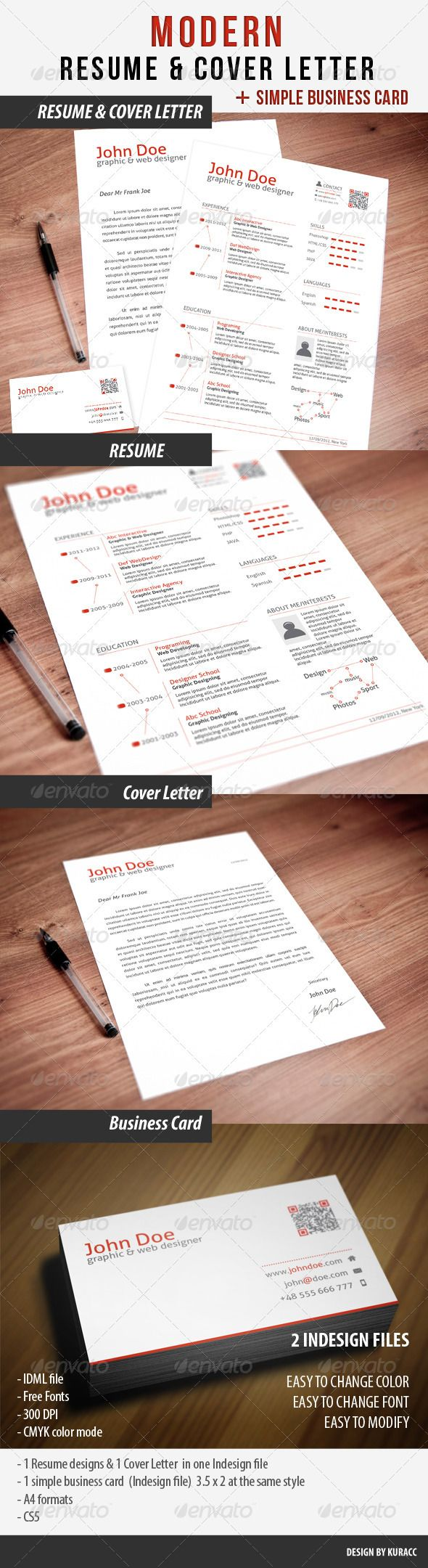 clean resume  u0026 cover letter  u0026 business card