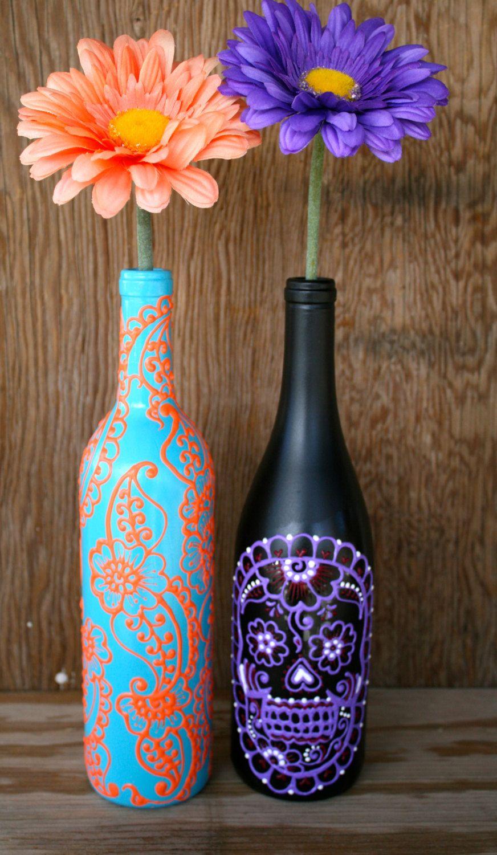 Hand Painted Wine bottle Vase, Up Cycled, Turquoise and Coral Orange,  Vibrant Henna style design