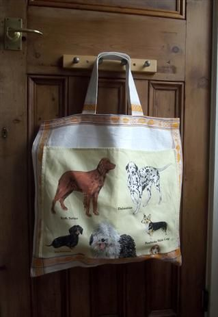 large shopping beach tote bag made from vintage fabric tea towels