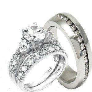 His Hers Heart 3 Pieces 925 Sterling Silver Stainless Steel Engagement Wedding Ring Set