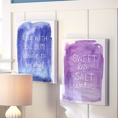 Surf Sentiment Art - This is like crayon art as kids using canvas and paint. No need to stick with the surf theme. Use any words to create a uniquely individual piece of art.