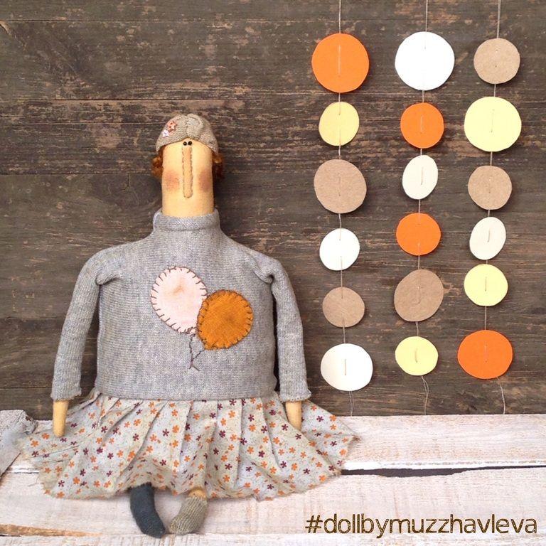 """Купить """"В стиле 20-х.."""" Интерьерная текстильная кукла - серый, оранжевый, розовый"""