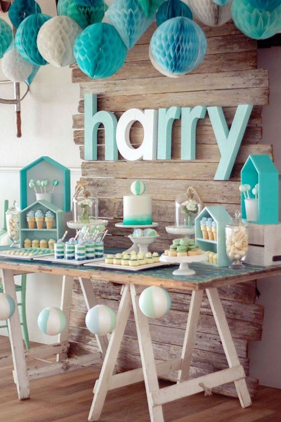 Sweet Table From A Rustic Beach Ball Birthday Party Via Karas Party