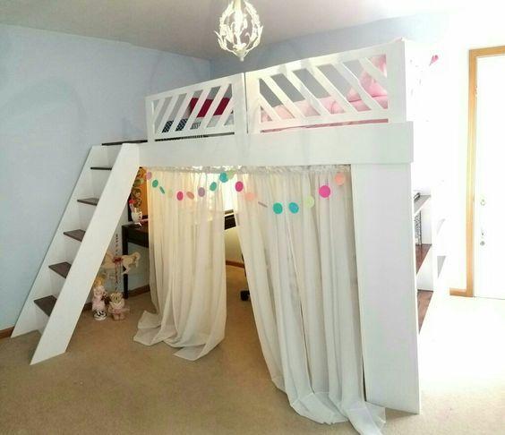 Diy Loft Bed Ideas With Curtain Girls Loft Bedroom Girls Loft