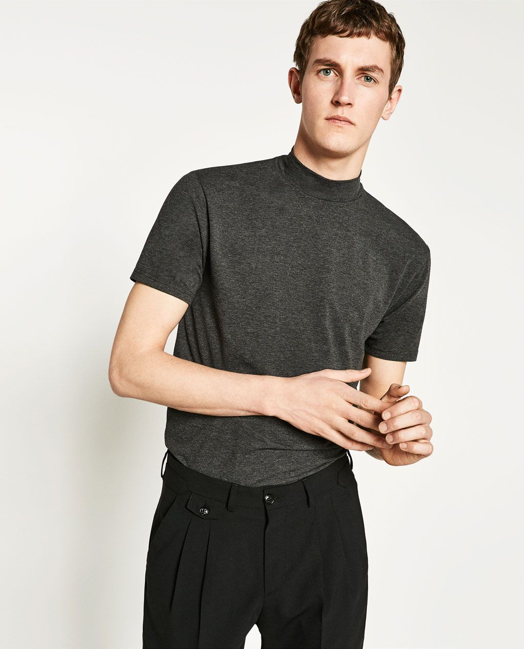 a3bef6a8fa9ca SHORT SLEEVE T-SHIRT WITH HIGH NECK from Zara