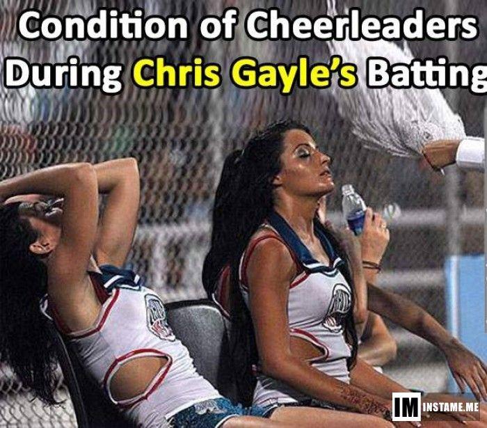 Cheerleaders while Gayle is batting! Unstoppable Gayle.  #IPLS2016 #IPL #SRHvsRCB
