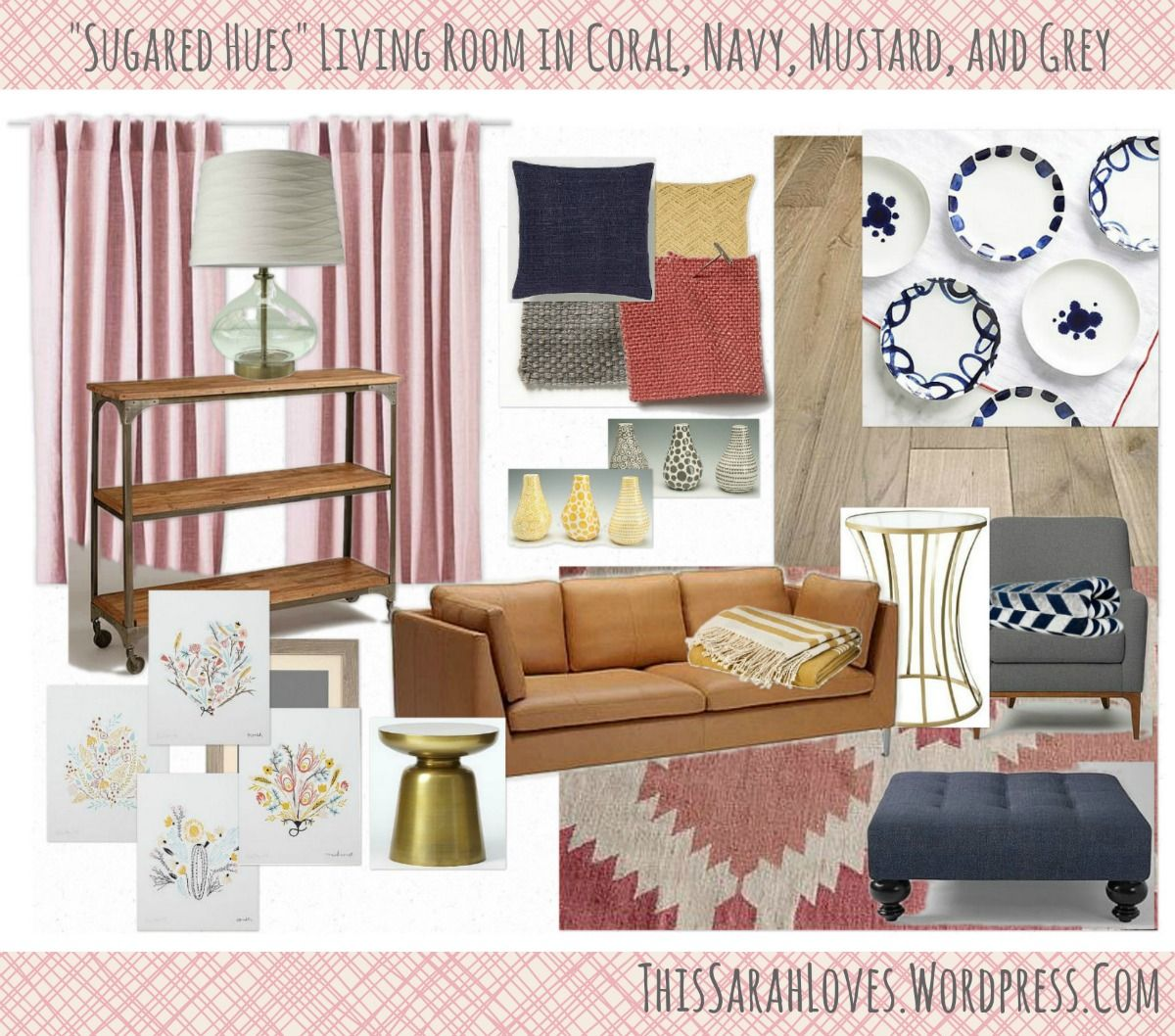 Best Sugared Hues Navy Coral Mustard Grey Living Room 400 x 300