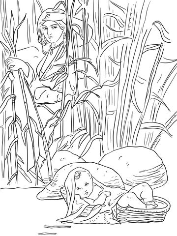 Miriam and Baby Moses Coloring page | Moshe | Pinterest | Mitología