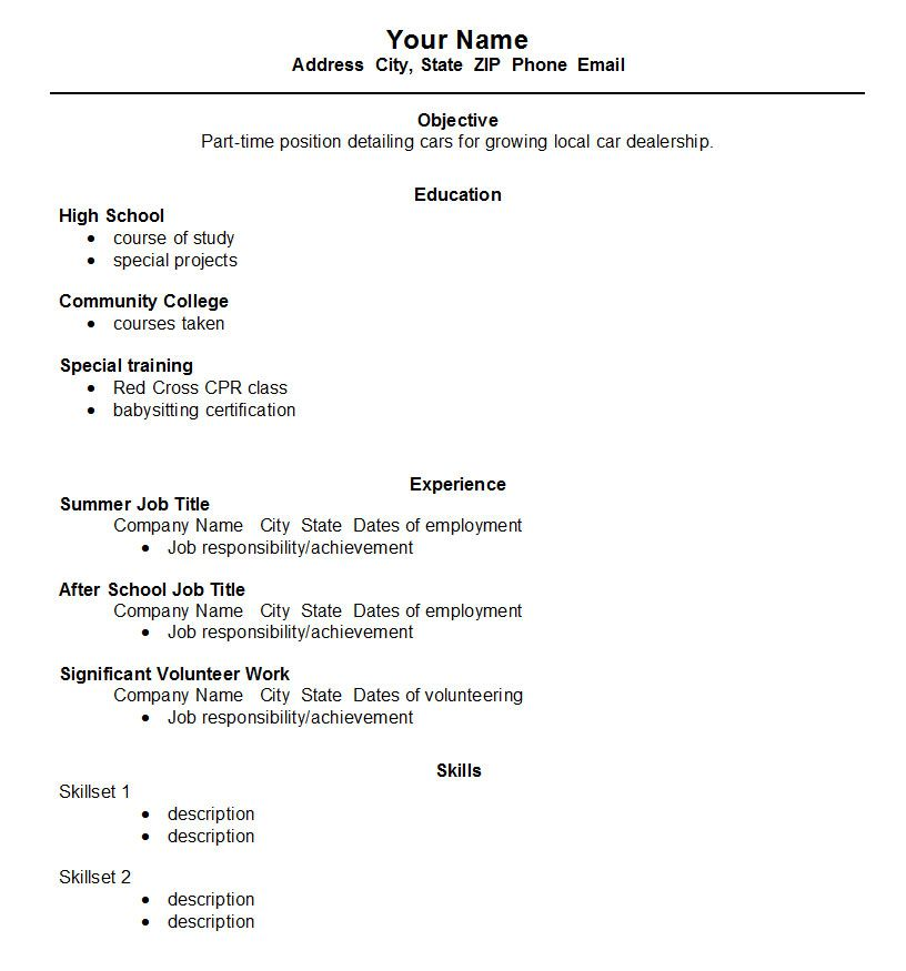Resume For A Job High School Resume Template  Httpwwwjobresumewebsitehigh
