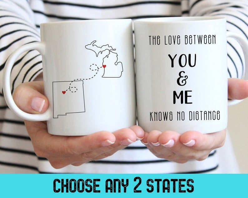 Long Distance Coffee Mug Christmas Gifts, Love Between You and Me Knows No Distance Custom Mugs #custommugs