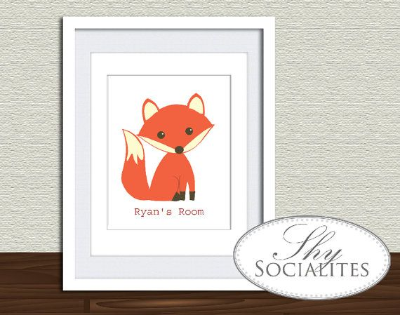 Kids Bedroom Door editable text fox drawing / bedroom door sign / editable kids room