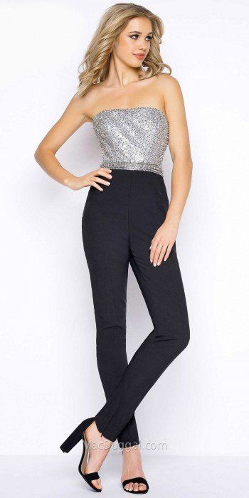 Be a shimmering sensation at your next special event in the fun and eye catching Fully Embellished Strapless Skinny Leg Jumpsuit by Mac Duggal. This sleek ensemble features a strapless neckline, a fully beaded bodice and a low back. The fitted silhouette also includes a skinny leg cut, a zipper back closure and adjustable zippers at the ankles. #edressme