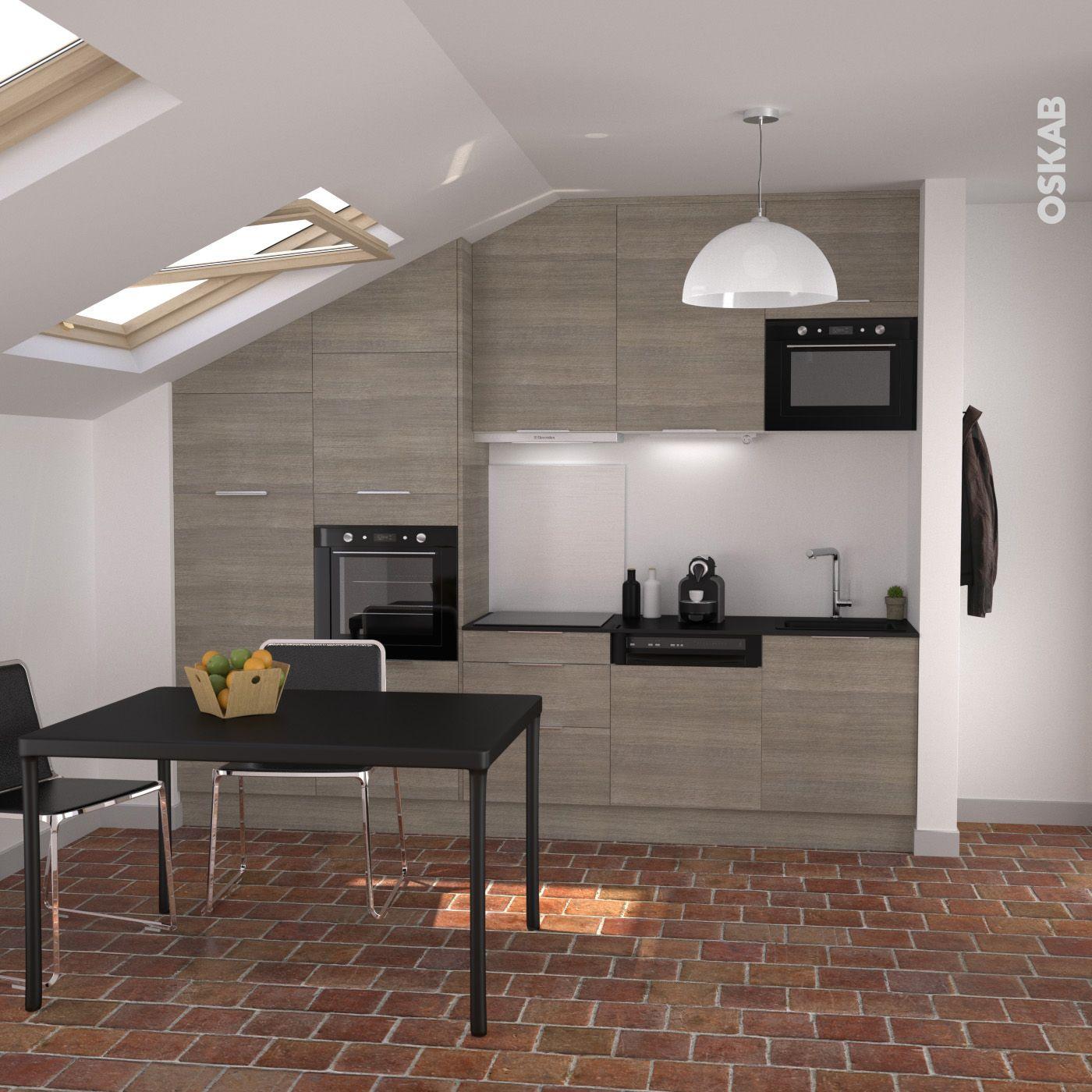 petite cuisine ouverte en bois d cor noyer naturel lectrom nager et plan de travail noir. Black Bedroom Furniture Sets. Home Design Ideas