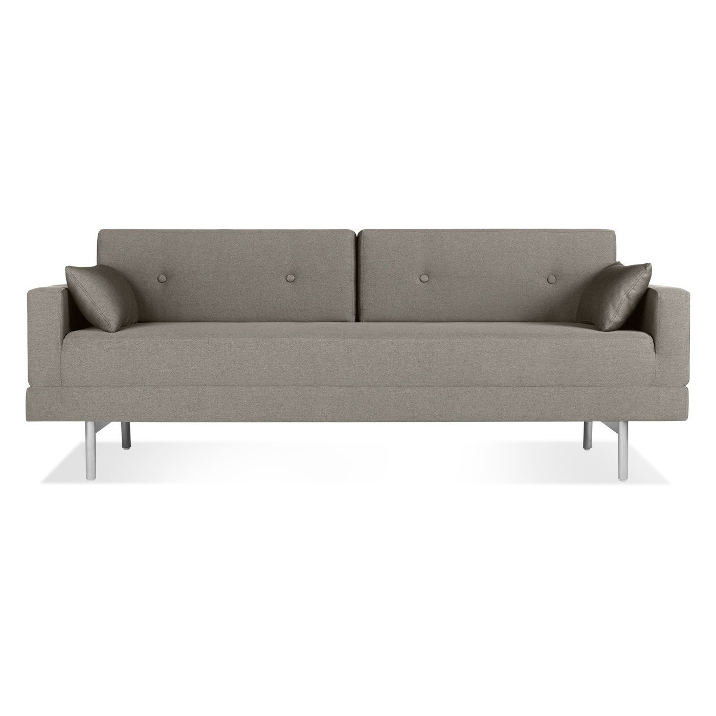midcentury modern sleeper sofa in pebble or gun metal bludot sf