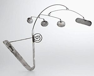 This Brooch/Barrette by Alexander Calder was acquired by John and Ruth Boland at the Paris Exhibition in Washington, DC in 1944. In addition to the mobiles that made him famous, Calder also created 1800 pieces of jewellery. He started making jewellery at age 10 for his sister's dolls, using wire he found in the streets. By the late 1930s and '40s, he was creating jewellery sculptures, among them were combs and tiaras | Sotheby's, 2006