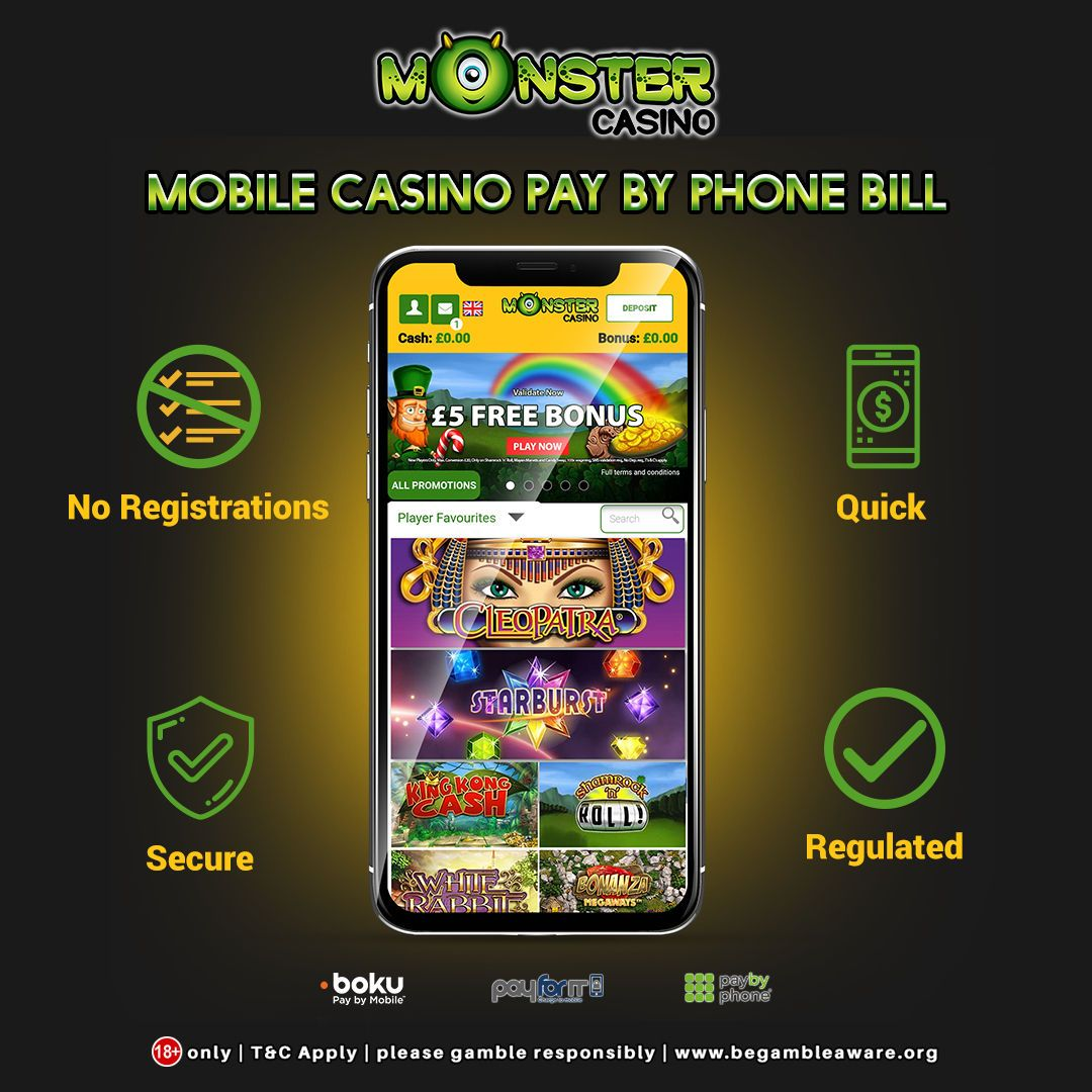 We at @monster_casino brings to you one of the latest and safest payment methods to deposit money into your #onlinecasino account using Pay By Phone Bill. Deposit now!! https://www.monstercasino.co.uk/pay-by-phone-bill #paybyphone #mobilecasino