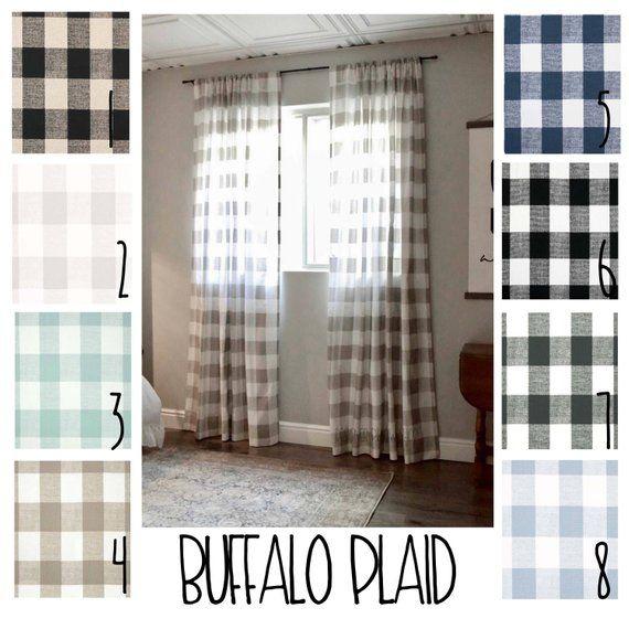 Plaid Curtains Buffalo Plaid Free Shipping 2 Curtain