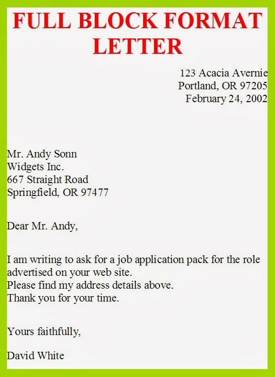 Business Letter Template Full Block Style Sample Tags Format