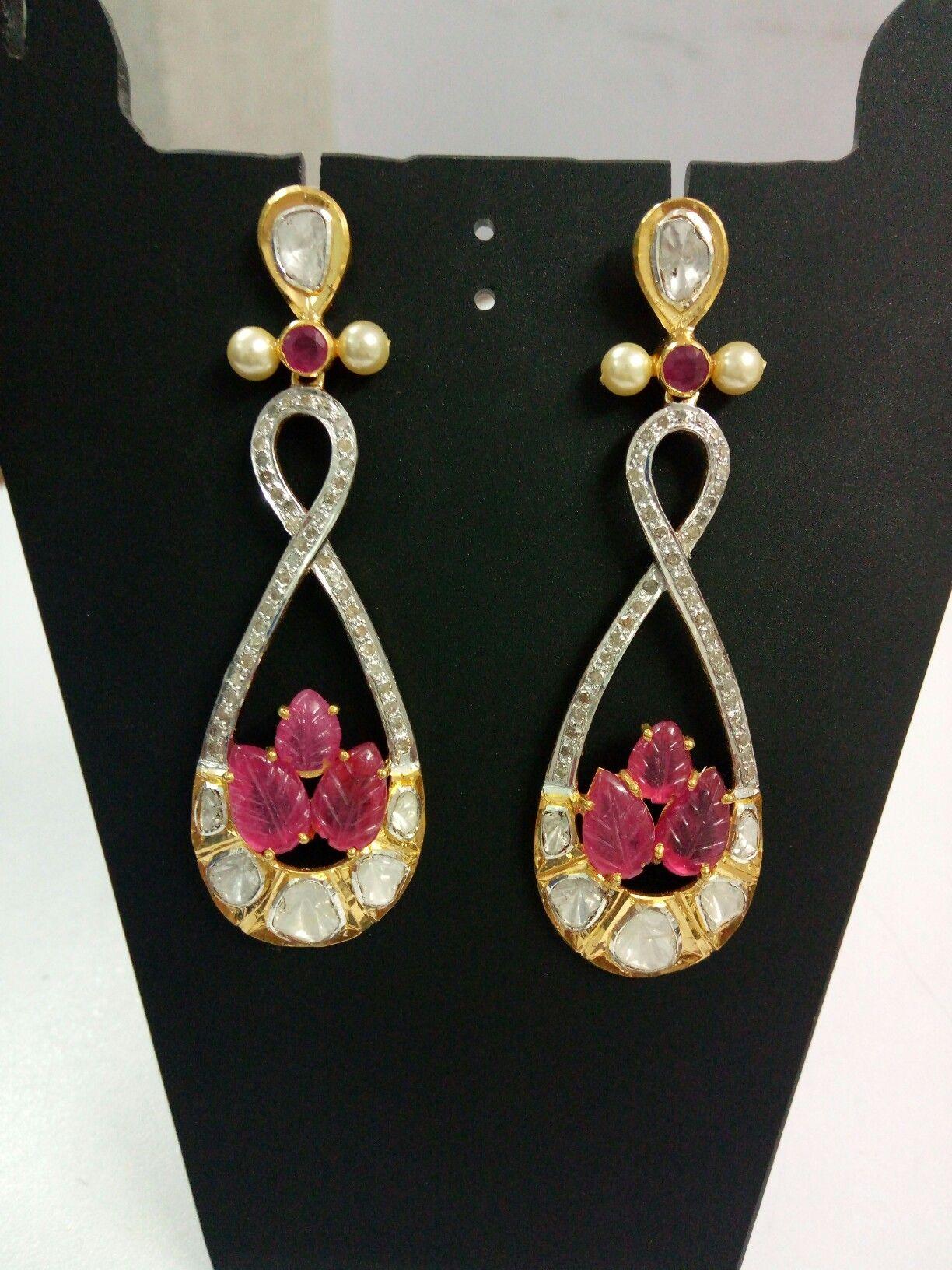 Polki earring in silver stted Ruby diamond