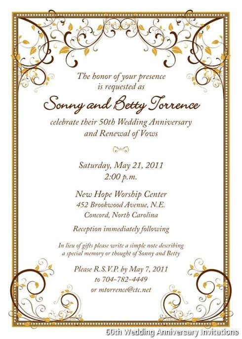 Th Wedding Anniversary Invitations Templates Pinteres - Wedding invitation templates: golden wedding anniversary invitations templates