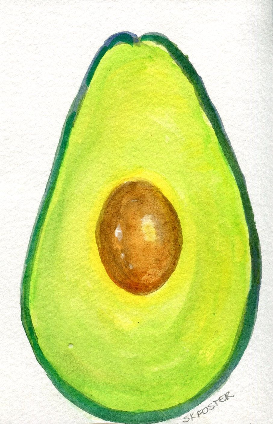 Avocado watercolors painting Original, kitchen wall art, kitchen ...