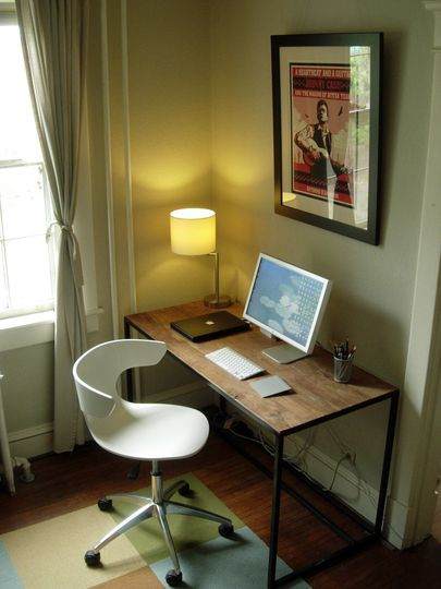peter\u0027s well designed duplex office pinterest duplex houselike this little office space especially the rustic table with the modern chair