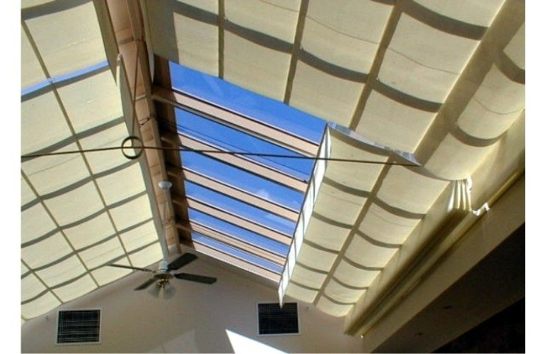 Pleated Shade Under Glass Roof Pergola Shades Diy Blinds Blinds Glass Roof