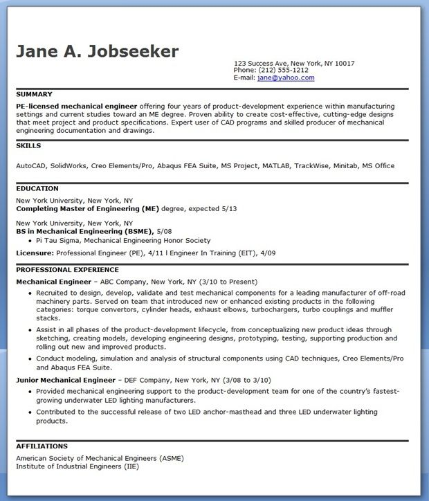 Mechanical Engineer Resume Template Mechanical Engineering Resume Sample Pdf Experienced  Creative