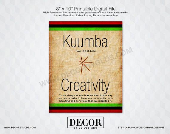 Kuumba Kwanzaa Sign Printable Red, Black  Green Sign, Kwanzaa