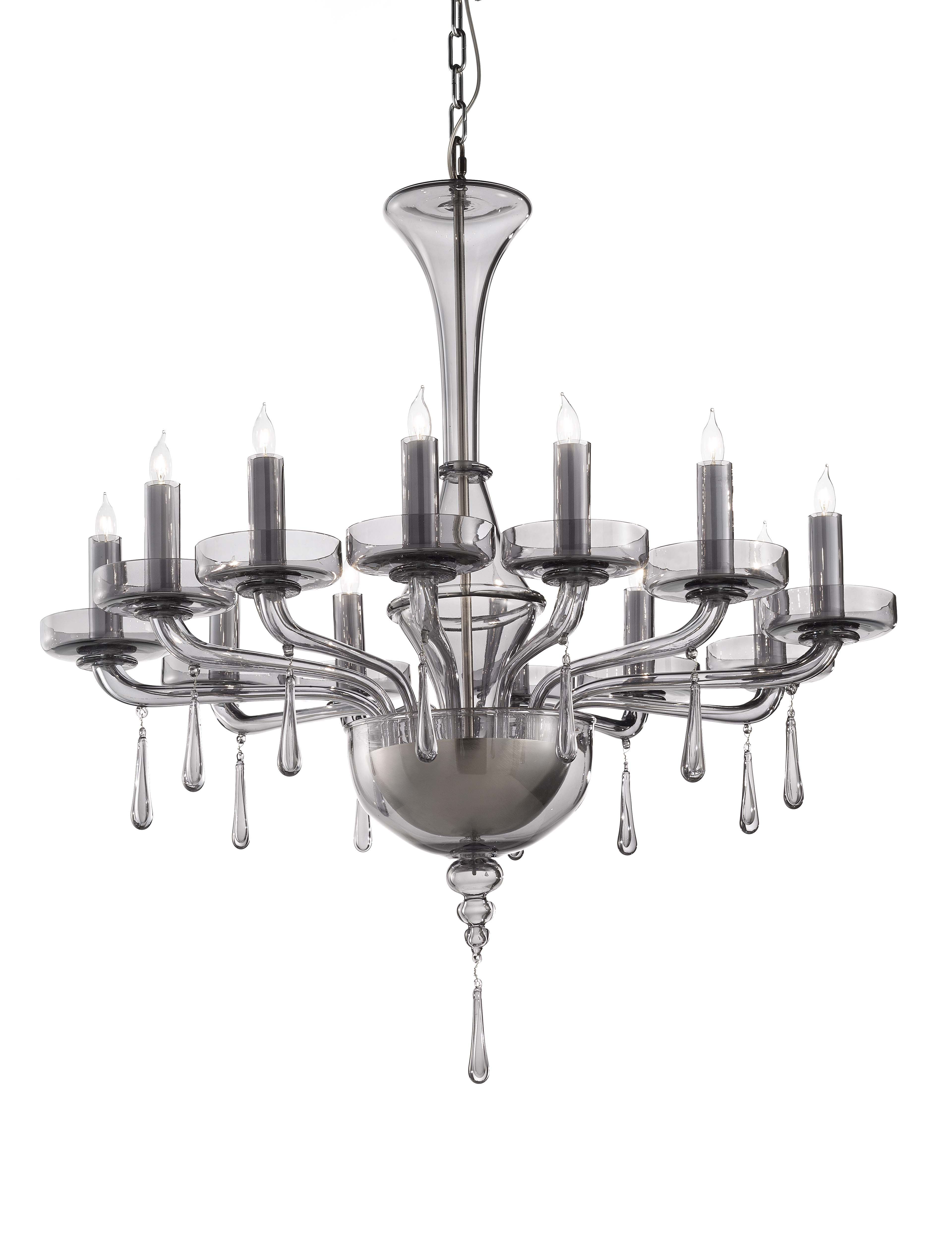 Oroveso 12 light chandelier smoke by otium murano glass otium oroveso 12 light chandelier smoke by otium murano glass aloadofball Image collections
