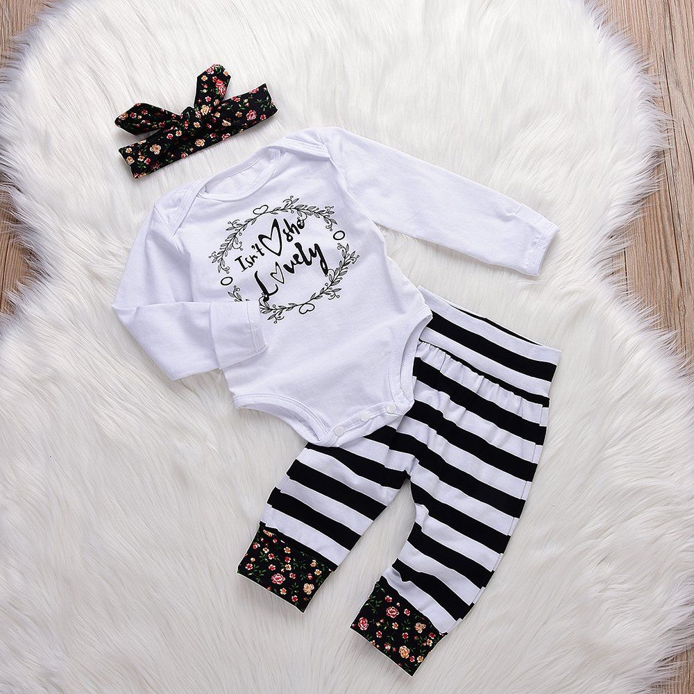 5eed63d4baaa 3Pcs Baby Girls Flower Circle Isnt She Long Sleeve Romper Striped Pants  with Floral Headband Outfits