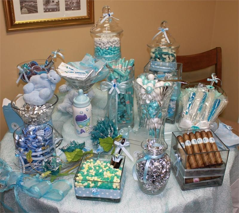 Good Blue Baby Shower Candy Buffet Part - 1: Baby Shower Blue | Add Blue Bubble Gum Cigars (1 Per Person) (+