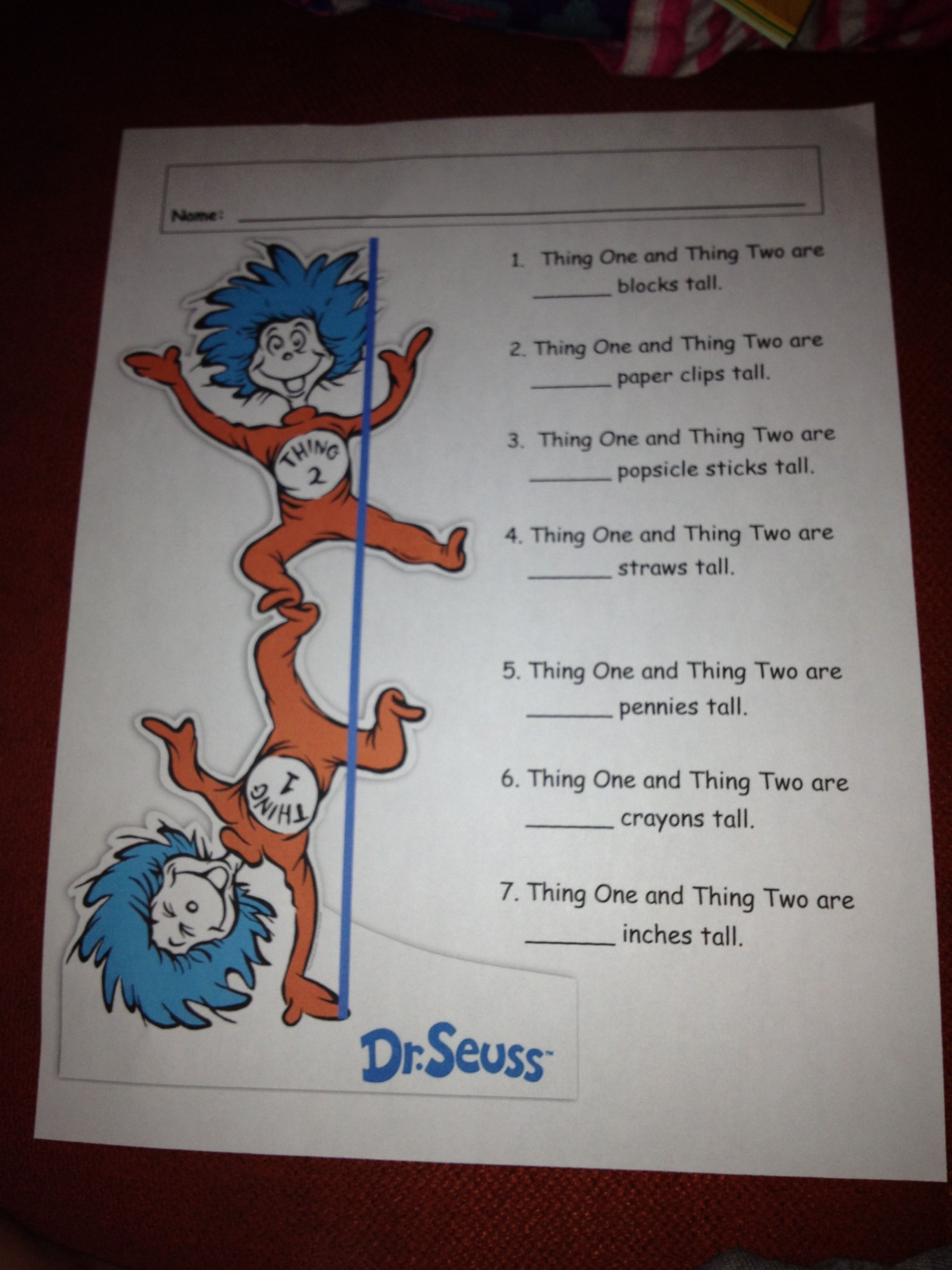 Measuring Activity Featuring Thing One And Thing Two My Preschoolers Loved Measuring With