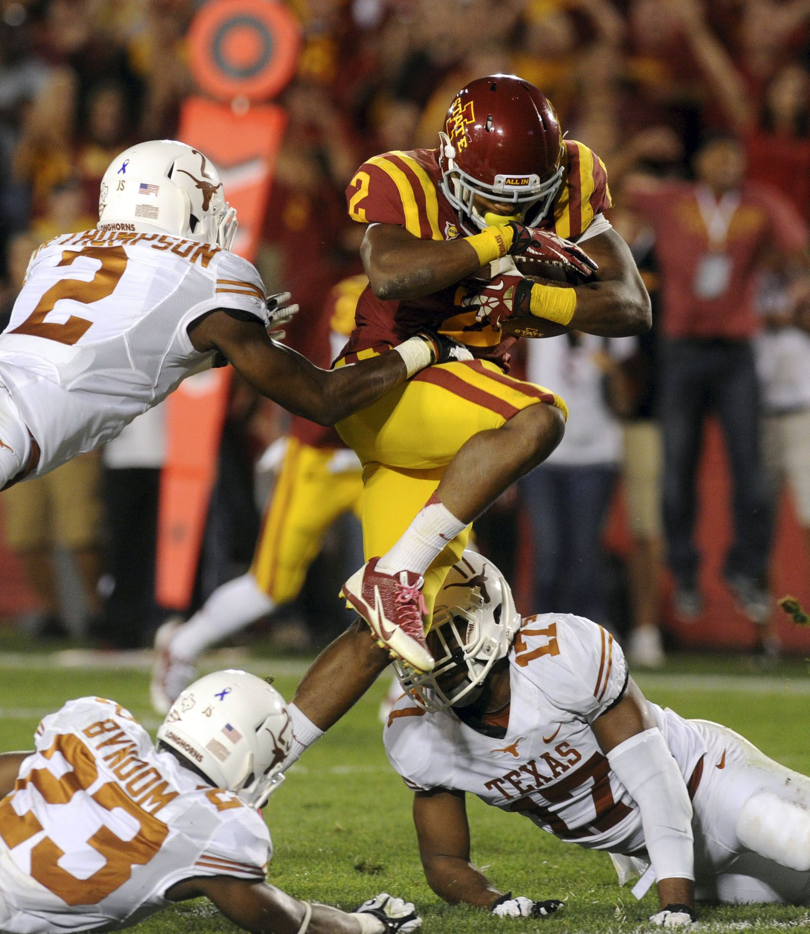 Iowa State's running back Aaron Wimberly drives for touch