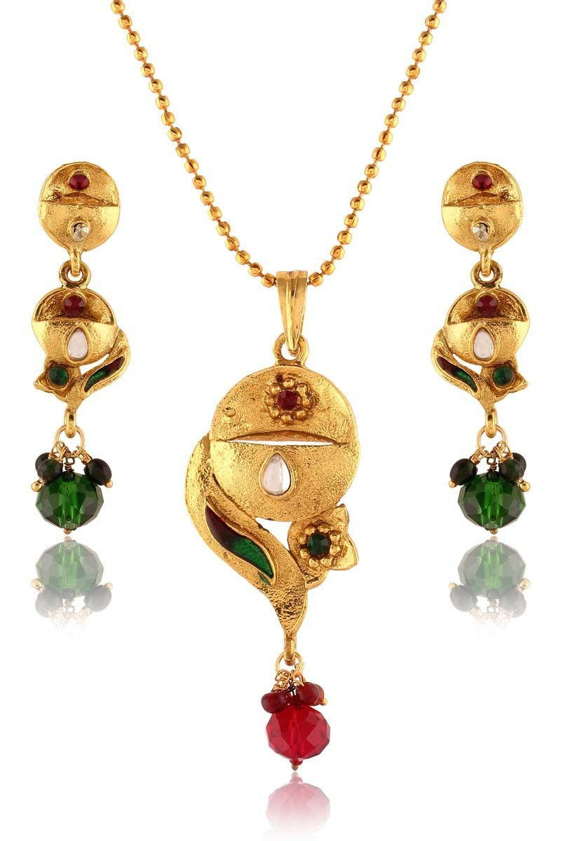 Multi gold plated meenakari pendant set products pinterest