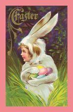 Vintage Postcard Easter girl bunny suit eggs