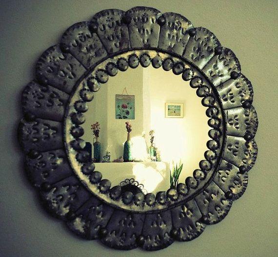Vintage Tin Frame Mirror Southwest Decor From Santa Fe