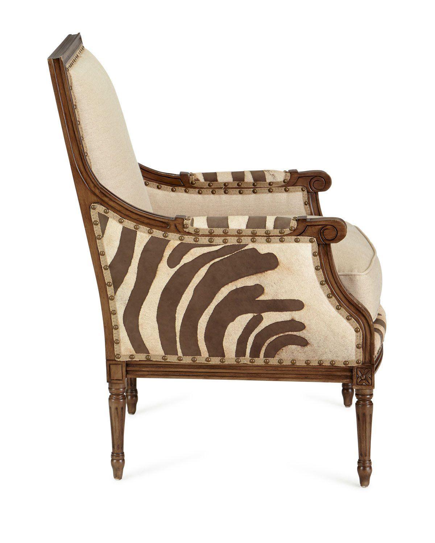 Massoud annie zebra washed leatherlinen chair
