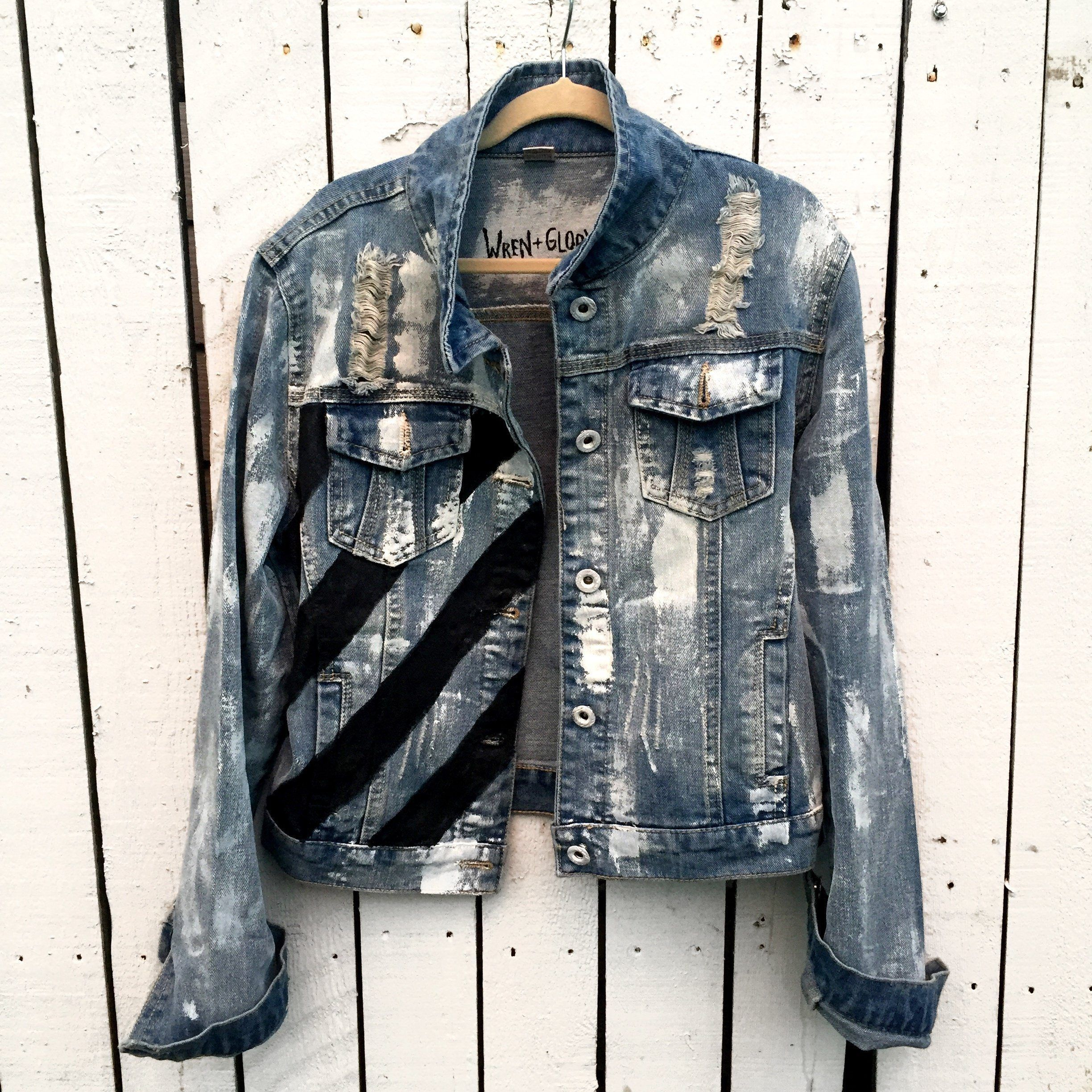 Power Light Wash Denim Jacket Hand Painted With White Black And Red Comfortable Fitted Slightly Cr Diy Denim Jacket Denim Jacket Jean Jacket Outfits [ 2448 x 2448 Pixel ]