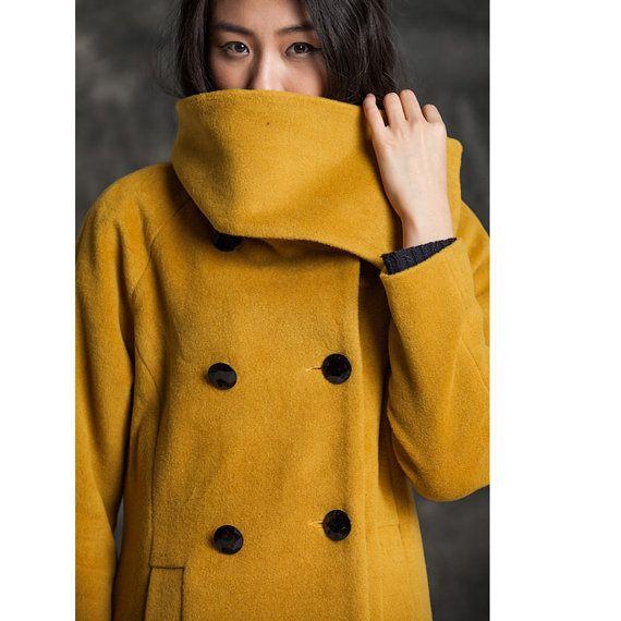 Yellow wool coat woollen jacet woollen coat winter coat cashmere maxi outerwear overcoat(JS166)