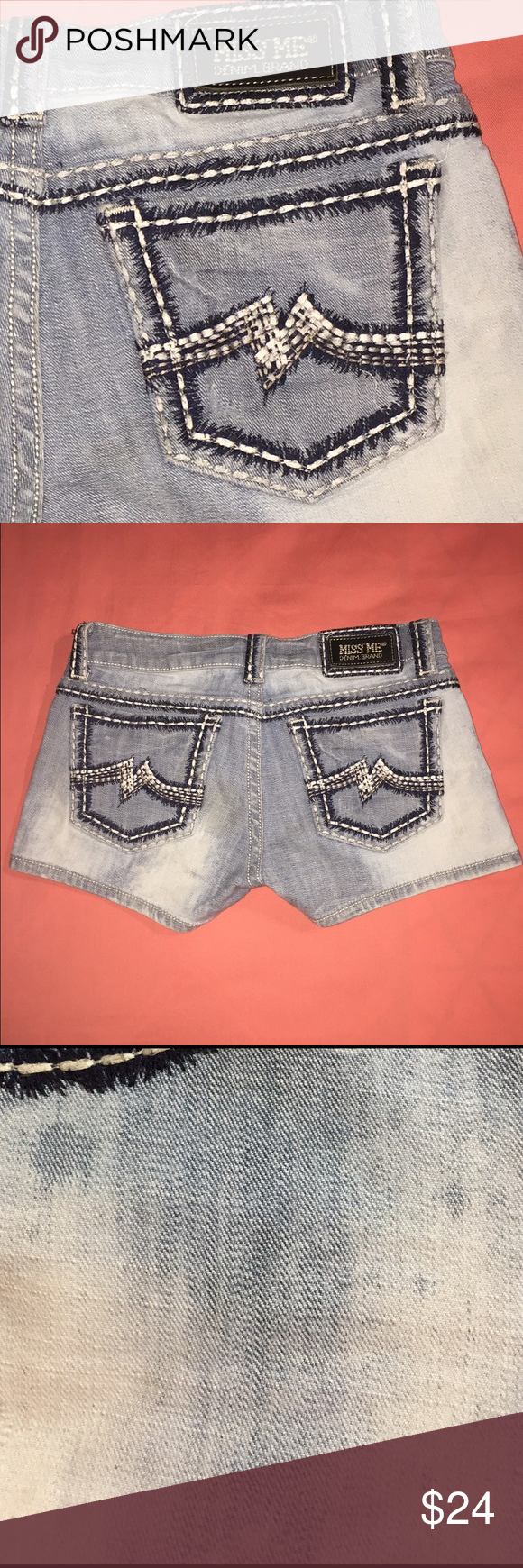 Miss Me Jeans Sunny Shorts Size 28 Miss Me Style: Sunny Short Sz 28 like new. Way too short for me:) Please see photo and feel free to ask questions before purchasing. No flaws- the details are not stains... I posted an up close pic of the front to show the manufacturers details more clearly (resembling a distressed look). Miss Me Jeans