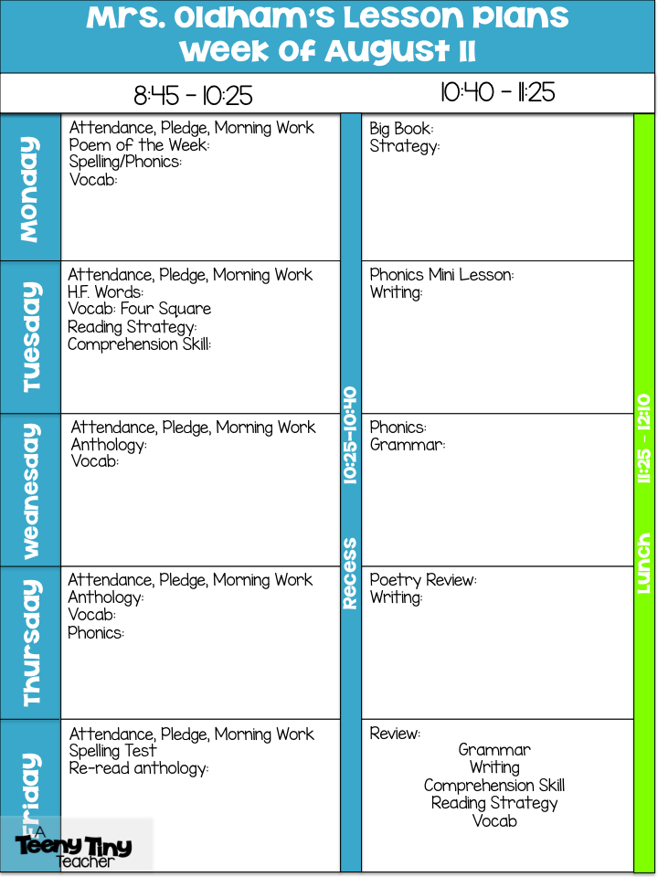 Lesson Plan Template  A Teeny Tiny Teacher  Primary Must Have