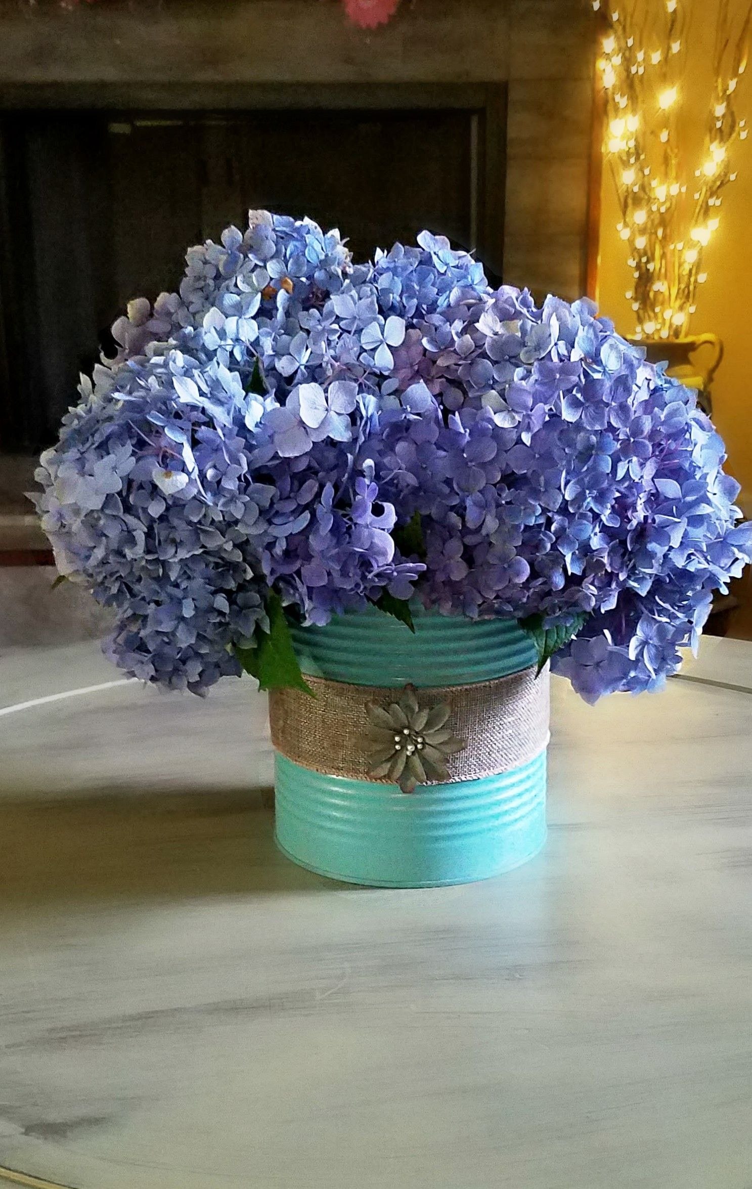 tin can with burlap wrapped around it and hydrangia s from on sweet dreams for your home plants decoration precautions and options id=18047