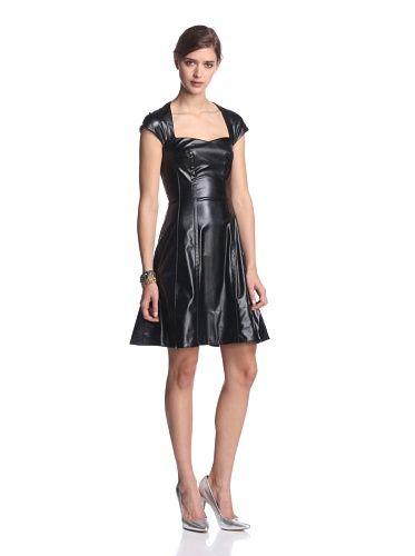 Byron Lars Women's Faux Leather Cap Sleeve Dress (mascara)