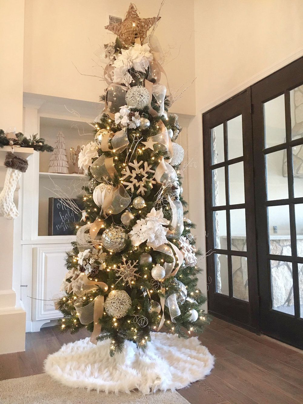 Our Home For The Holidays Brigitte Linford Slim Christmas Tree Christmas Tree Inspiration White Christmas Trees