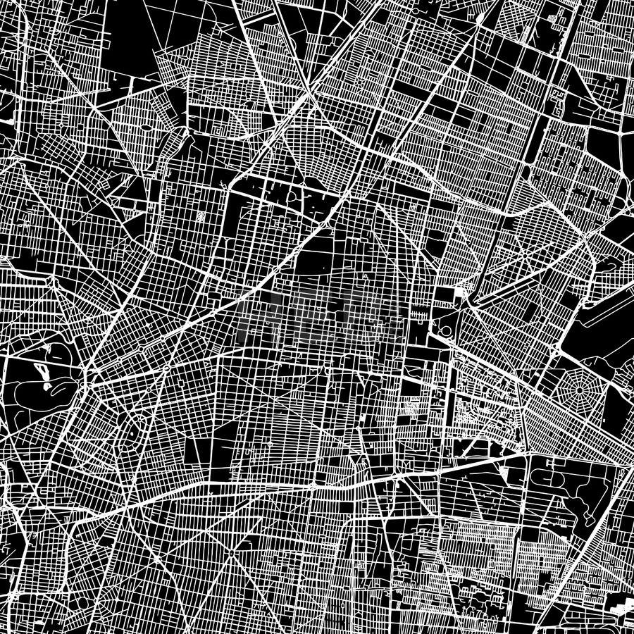 Mexico City Mexico Downtown Map Dark Mapas Diseno Editorial Disenos De Unas
