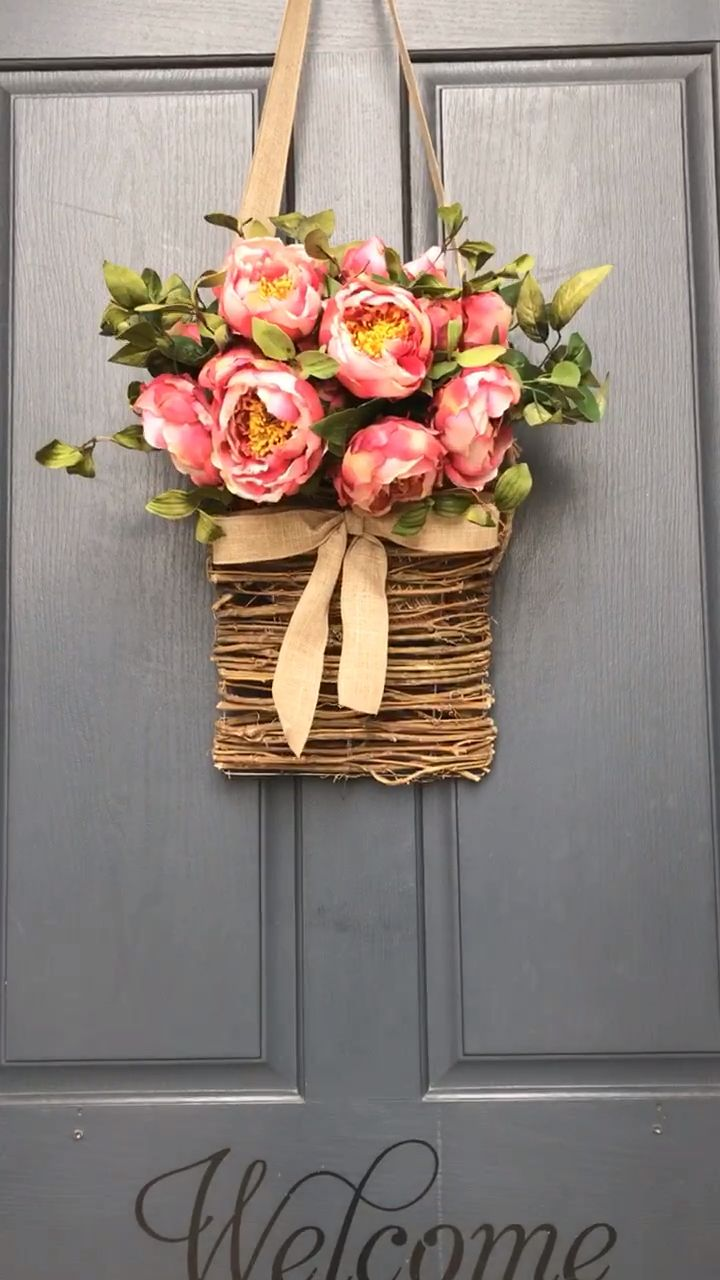 Our pink peony basket creates a gorgeous welcome in your front door for all who enter your home. #spring
