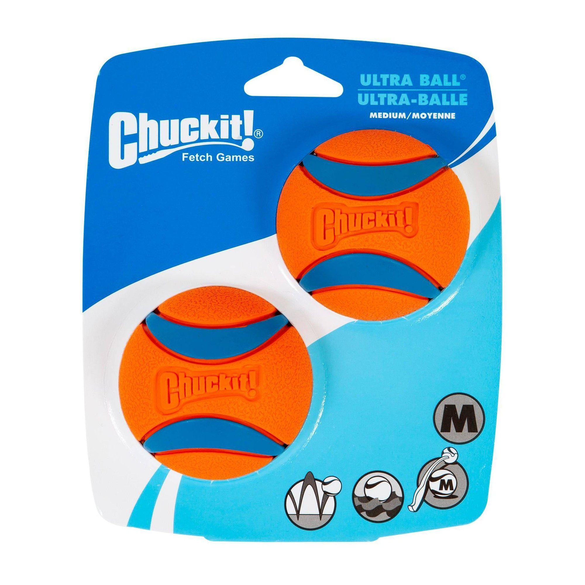 Chuckit Ultra Ball 2pk Orange Blue Medium Dog Toys Pet