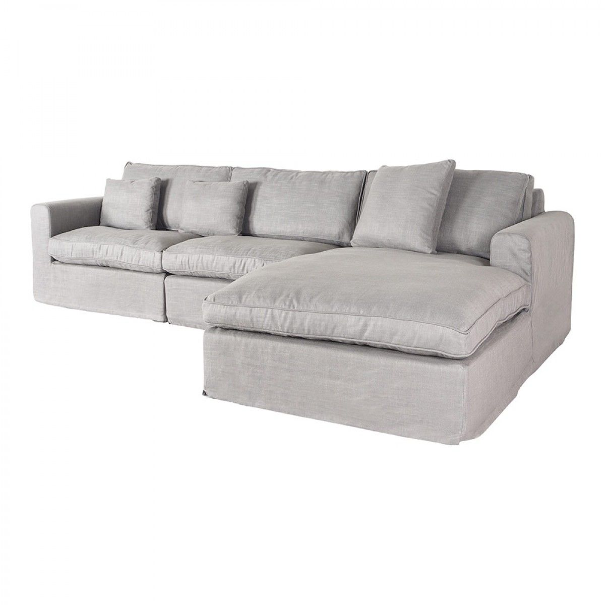 Huxley 3 Seater Chaise Rhf Grey Linen Fabric Lounges Upholstery Grey Linen Sofa Gray Linen Chaise