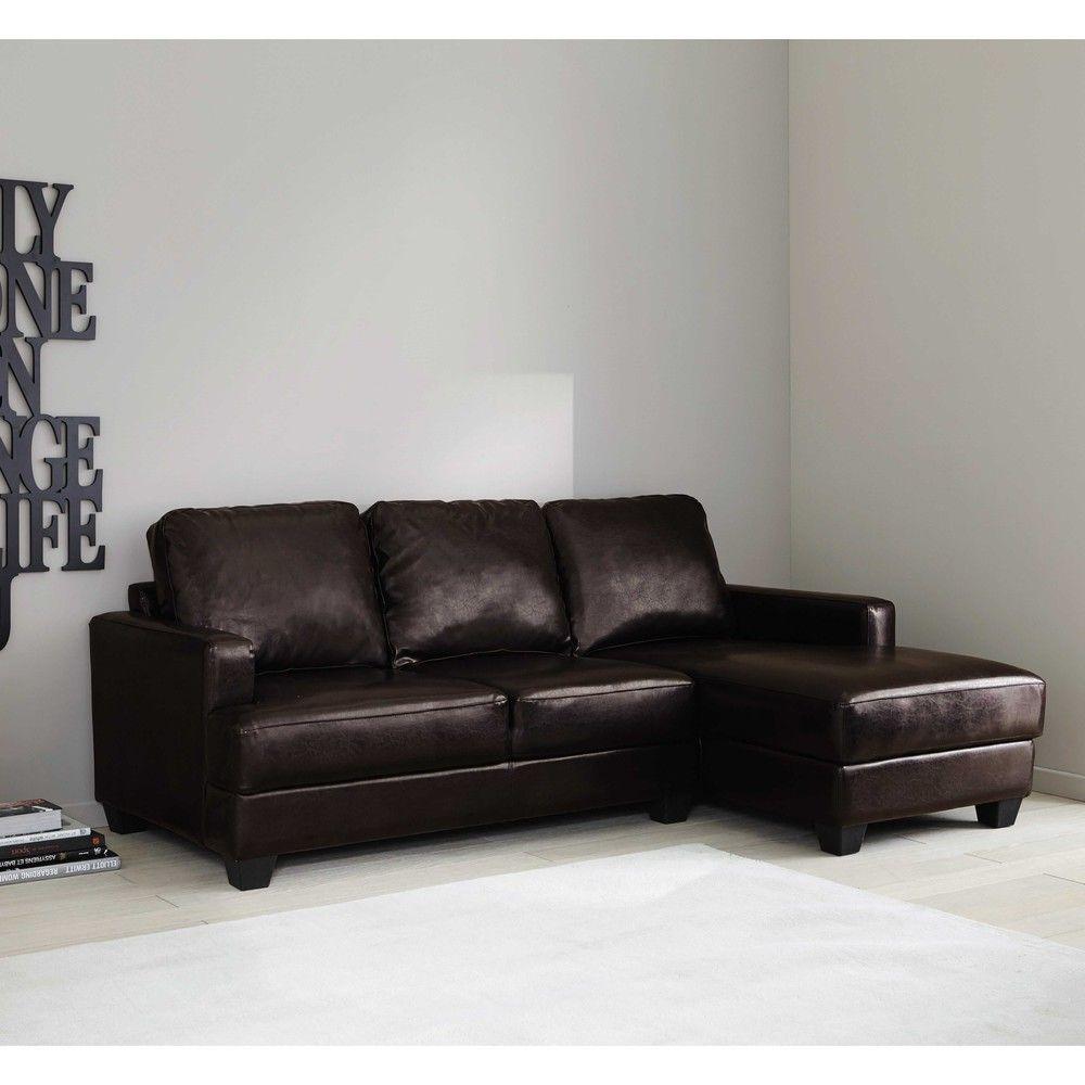 Canapé d\'angle gauche 3/4 places imitation cuir marron foncé ...